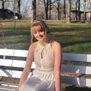 White glittery prom dress